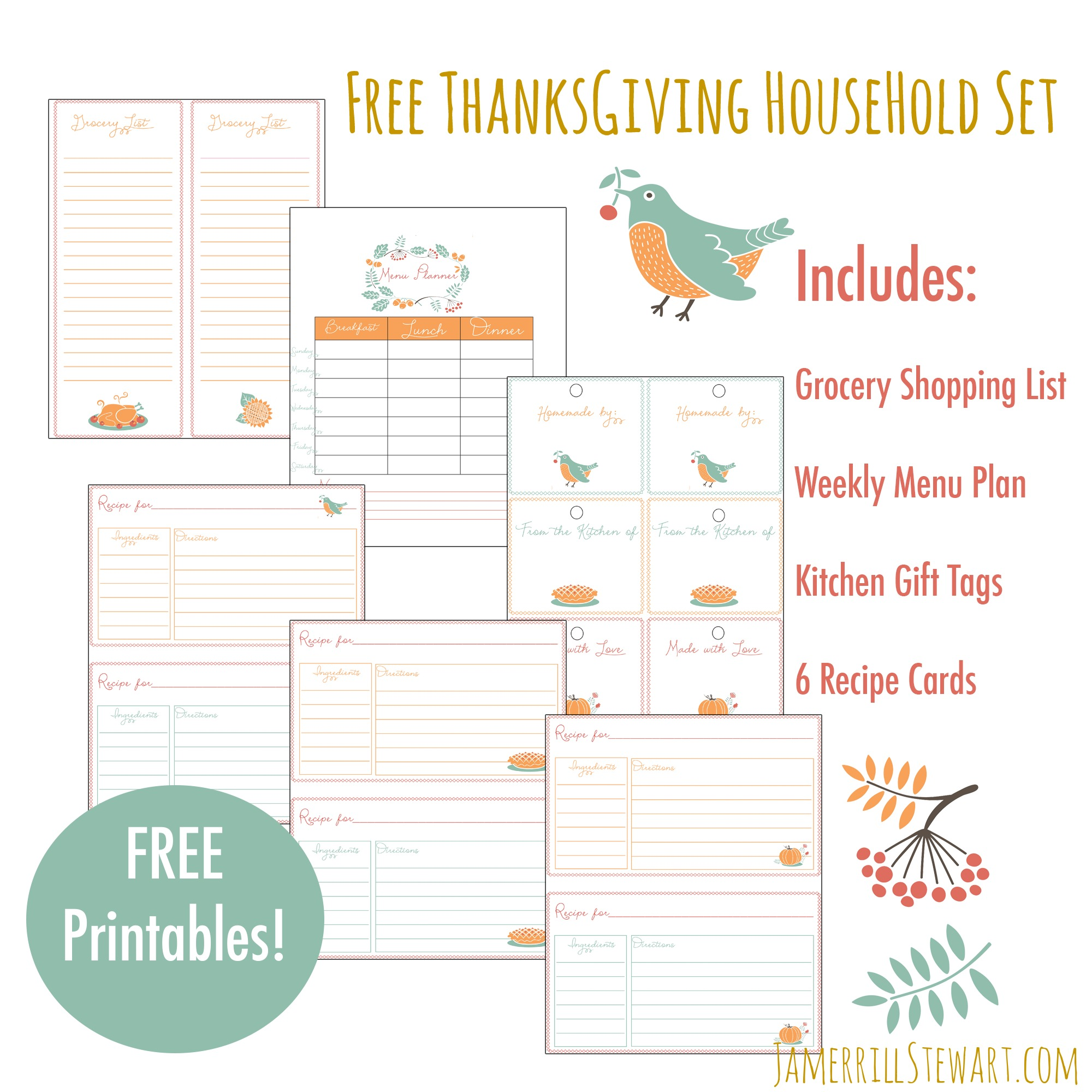 Free Thanksgiving Household Printables