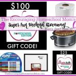 SUPER FUN HOMESCHOOL MOM WEEKEND GIVEAWAY! (Over $200 Value!)
