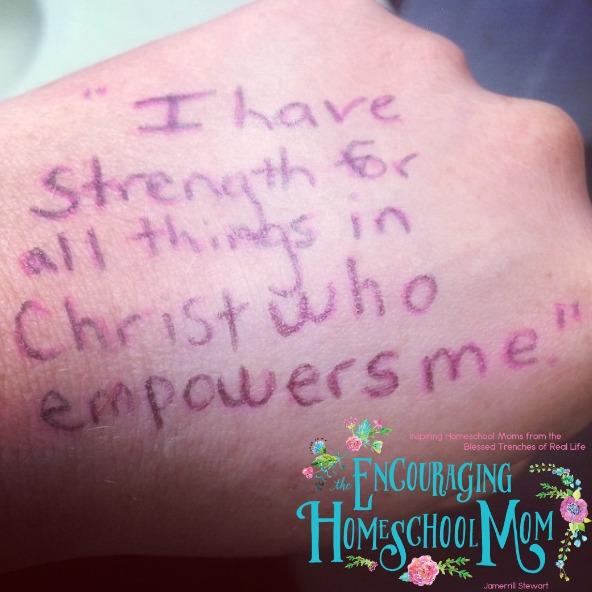 hand verses the encouraging homeschool mom