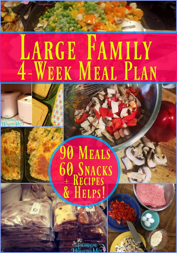 Need help planning meals for your large family? Here's a 4-Week Large Family Meal Plan that includes 90 Family Meals, 60 Snacks, Recipes, and Helps for You!