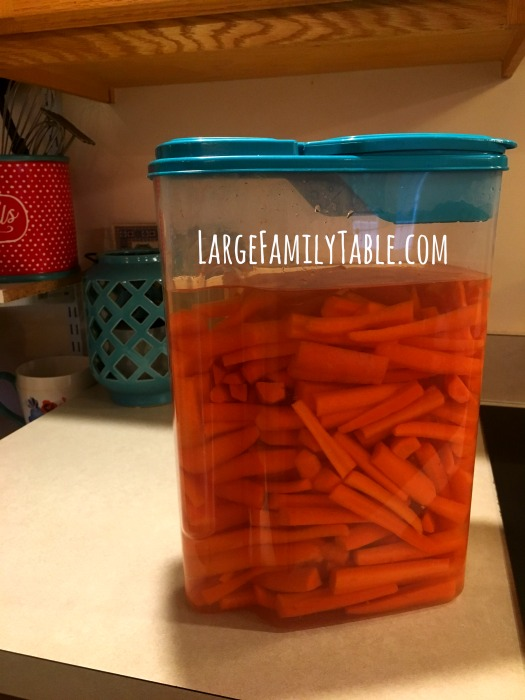 Carrot Stick Storage for Large Family Snacks