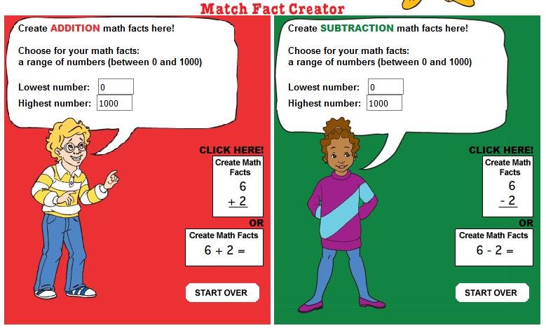 free online math fact creator