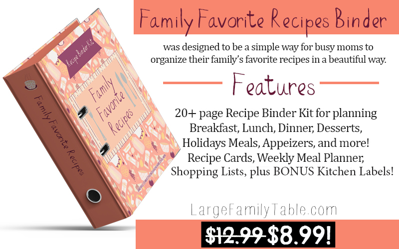 Family Favorite Recipes Binder Kit Only $8.99
