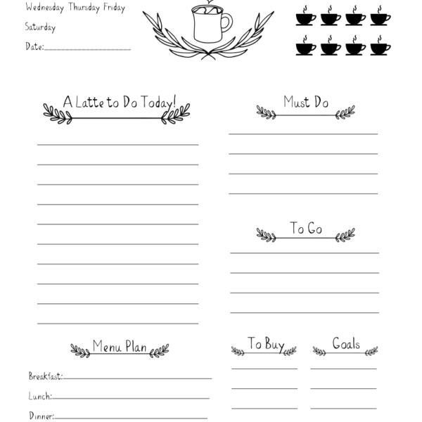 Free Caffeinated Daily Planner Download for coffee fans – Free Daily Planner Download