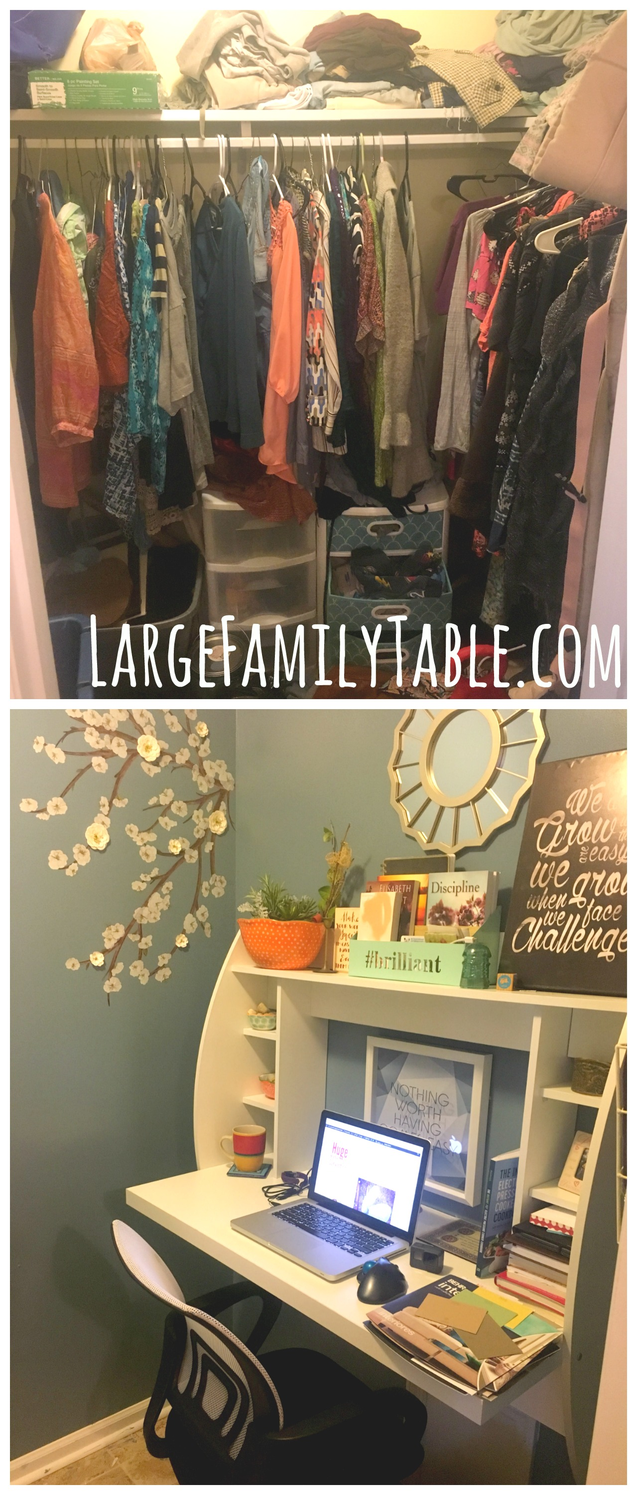 DIY Walk-In-Closet To Home Office Makeover - Large Family ...