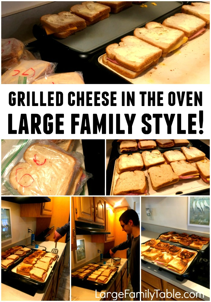 Making grilled cheese in the oven - large family style!