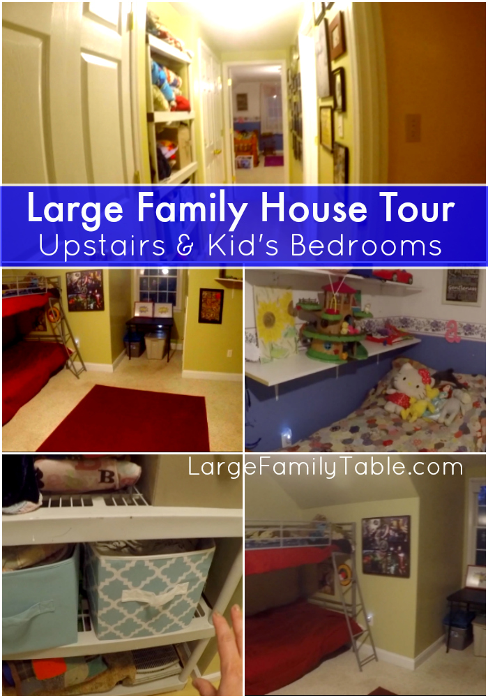 Large family house tour upstairs kid 39 s bedrooms for Big family house