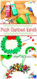 Puzzle Christmas Wreath Craft Project for Kids