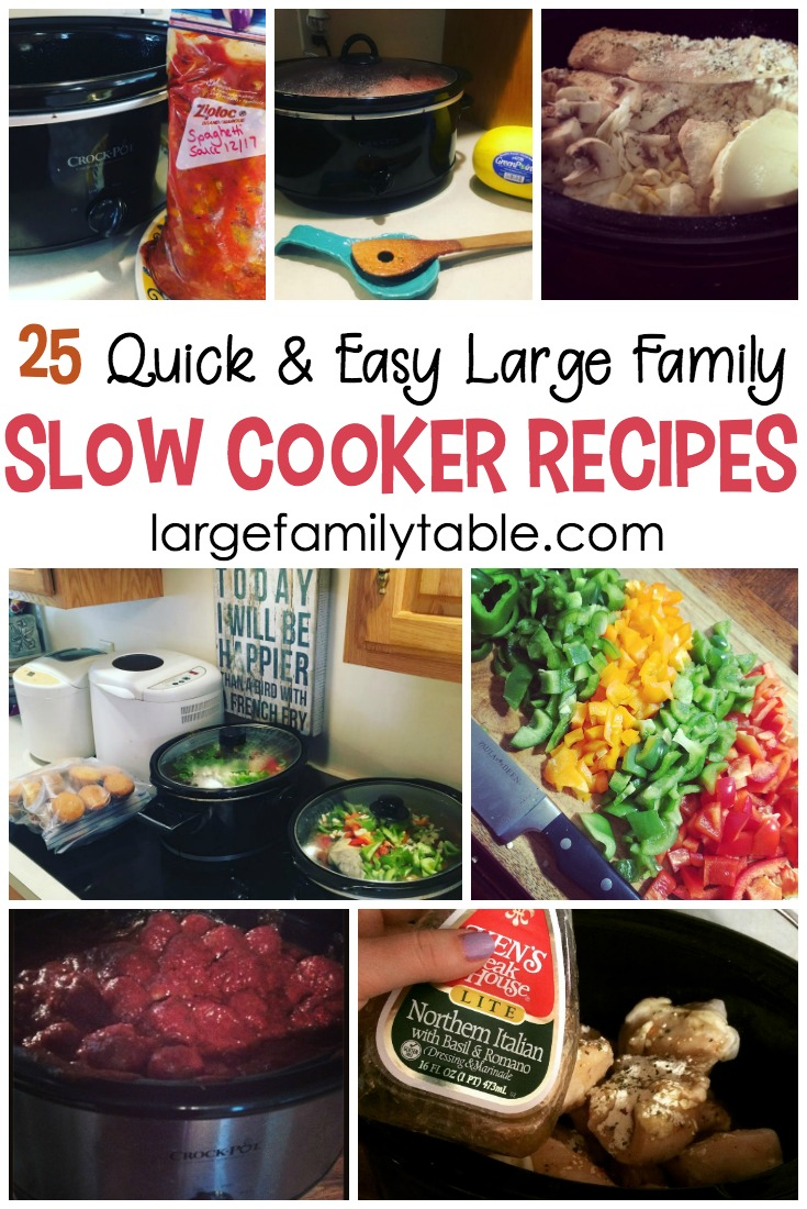 25 quick & cheap large family slow cooker recipes - large family table