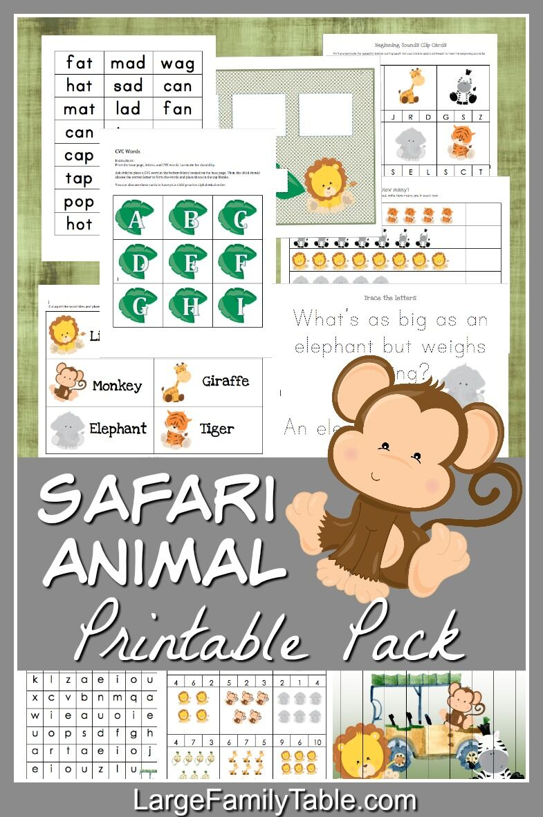 graphic regarding Printable Safari Animals named Safari Pets 30+ Web site Homeschool Printable Pack + Totally free