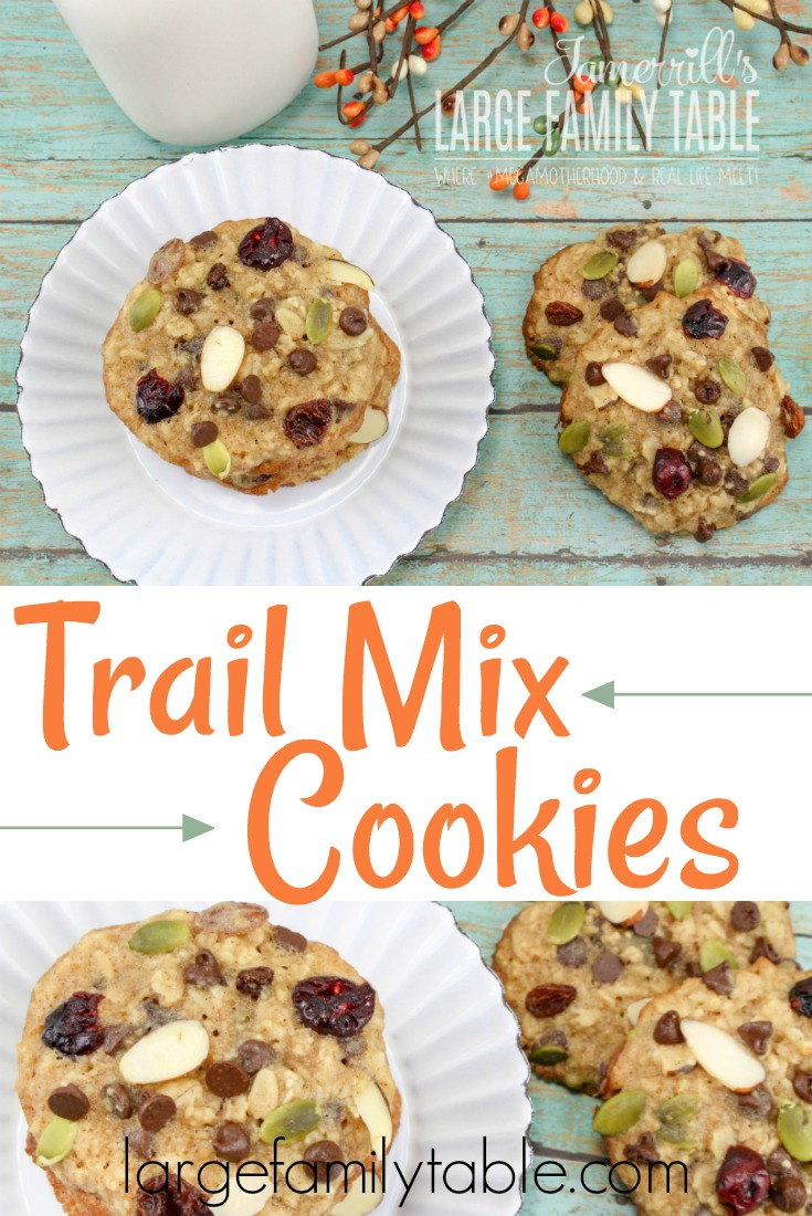 These homemade trail mix cookies are soft and chewy and packed full of protein. They're perfect for an afternoon snack or a tasty dessert.