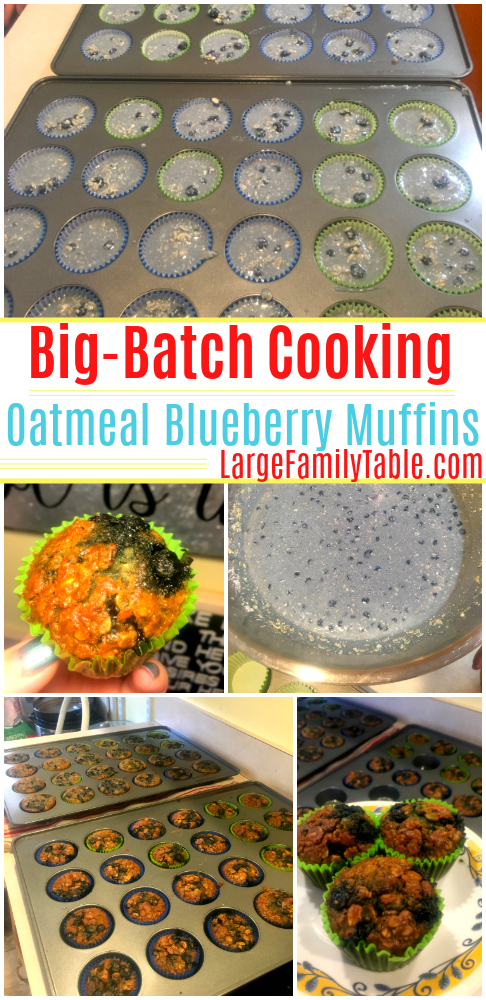 batch cooking oatmeal blueberry muffins