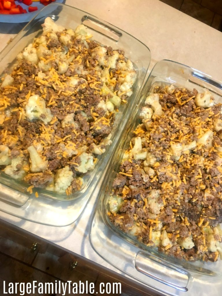Beef and Cheddar Cauliflower Bake