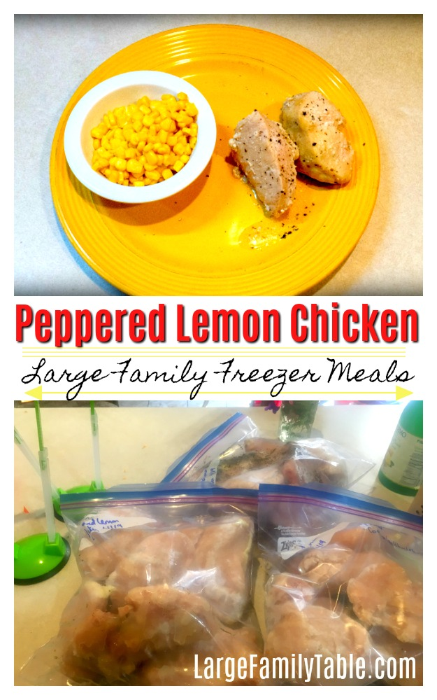 Peppered Lemon Chicken | Large Family Slow Cooker Freezer Meals