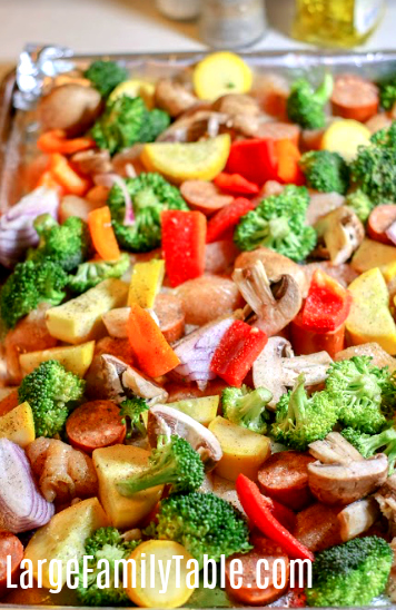 large family sheet pan dinner recipe