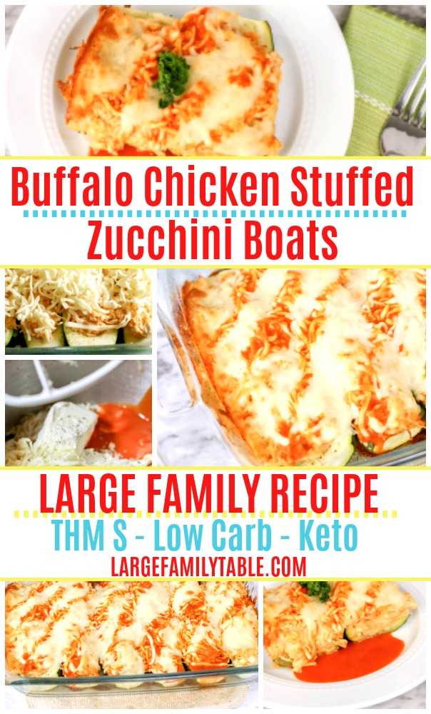 Large Family Buffalo Chicken Stuffed Zucchini Boats