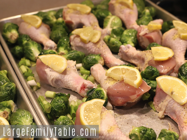 Lemon Pepper Drumsticks with Roasted Brussel Sprouts Sheet Pan Dinner