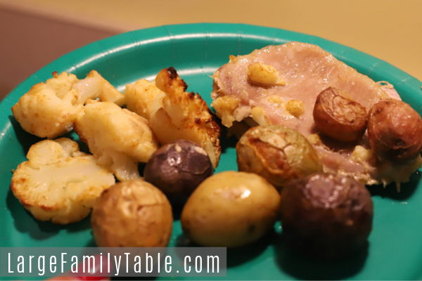 Pork, Roasted Cauliflower, and Petite Potatoes Sheet Pan Dinner