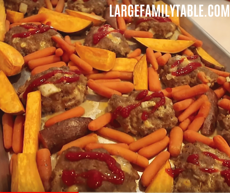 turkey meatloaves with sweet potatoes and carrots sheet pan dinner
