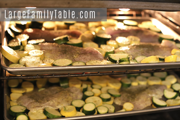 Lemon Garlic Tilapia with Zucchini & Yellow Squash Sheet Pan Dinner