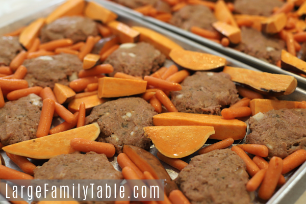 Turkey Meatloaves with Sweet Potatoes & Carrots Sheet Pan Dinner