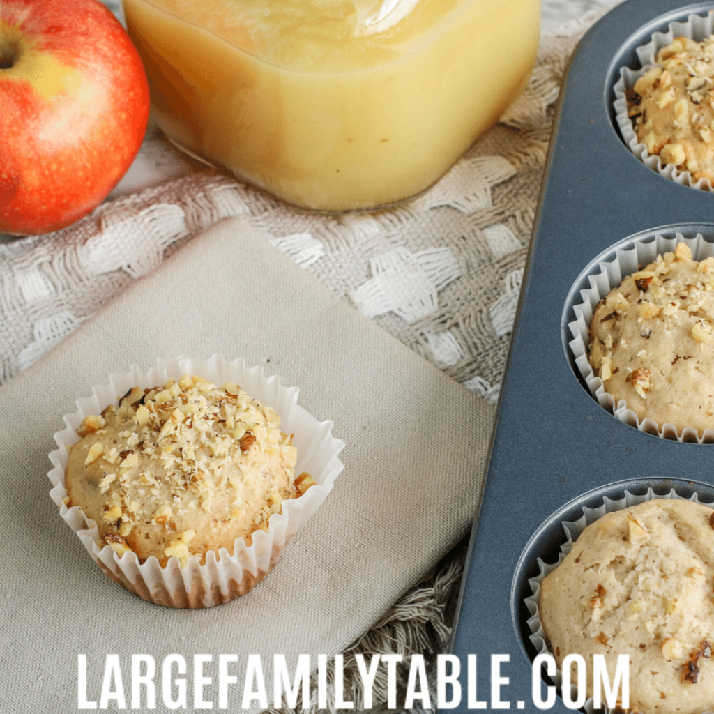 Large Family Apple Muffins with Applesauce Recipe
