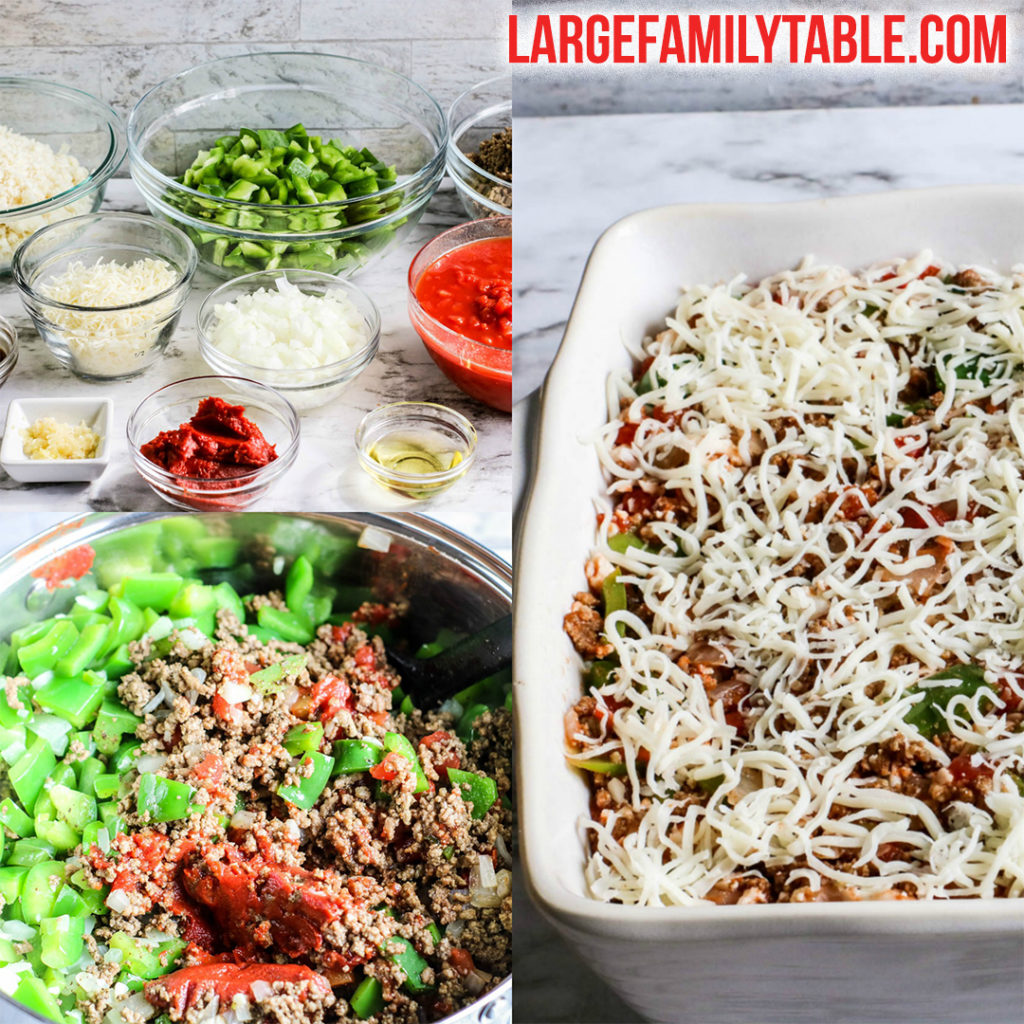 Big Family Low Carb Beef and Peppers Freezer Meal Casserole