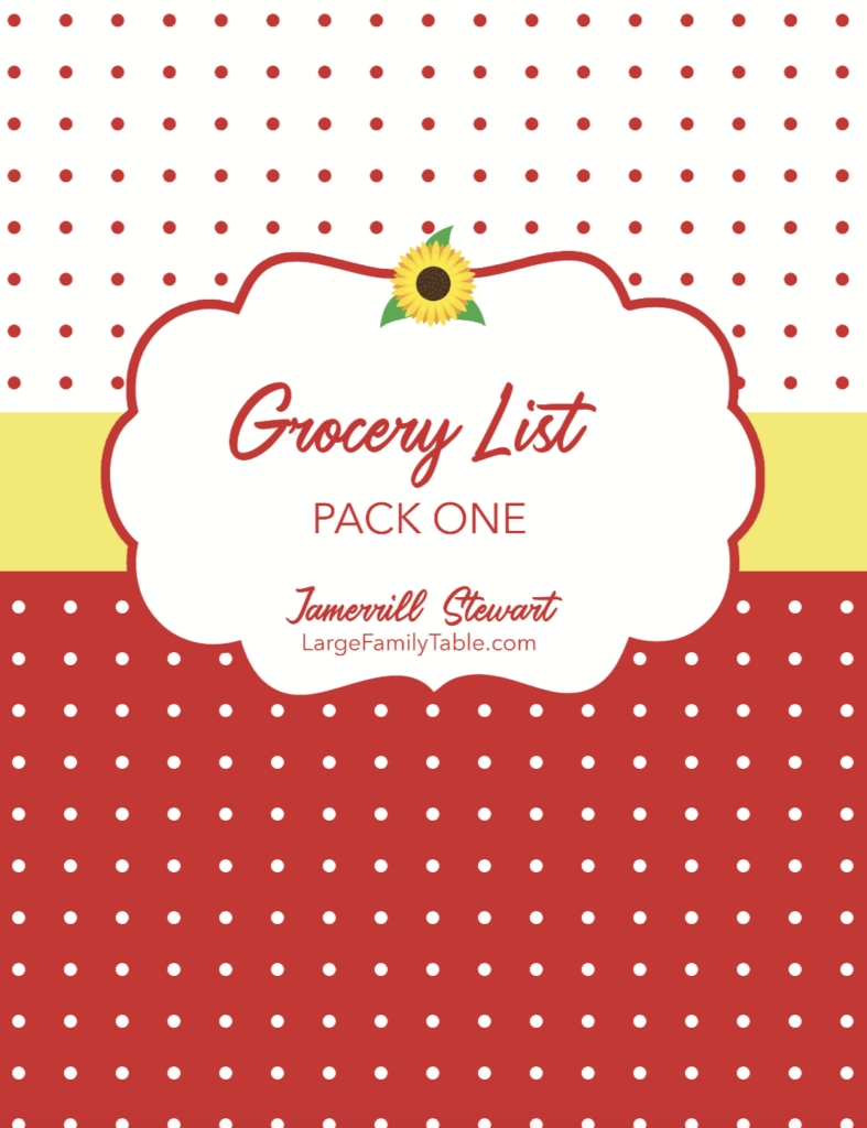 Large Family Grocery List and Large Family Meal Plan on a Budget