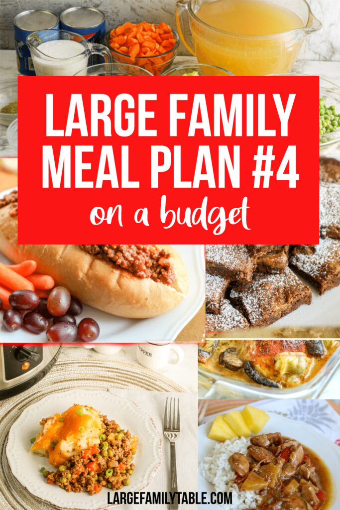Large Family Budget Weekly Meal Plan