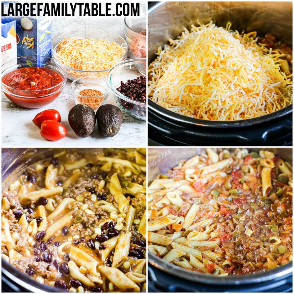 Large Family Instant Pot Cheesy Burrito Pasta Recipe | Large Family Instant Pot Meals