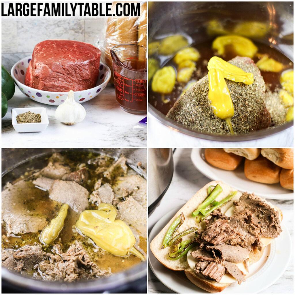 Large Family Instant Pot Italian Steak Sandwiches