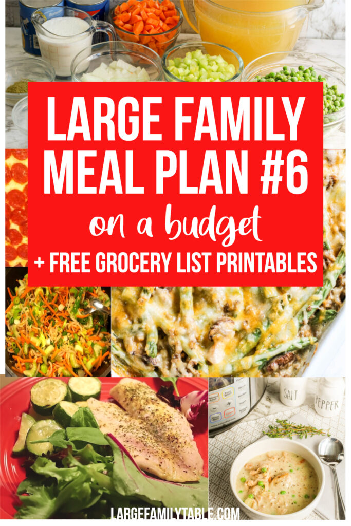 Large Family Weekly Meal Plan Week 6 | Budgeting Meals with FREE Grocery List