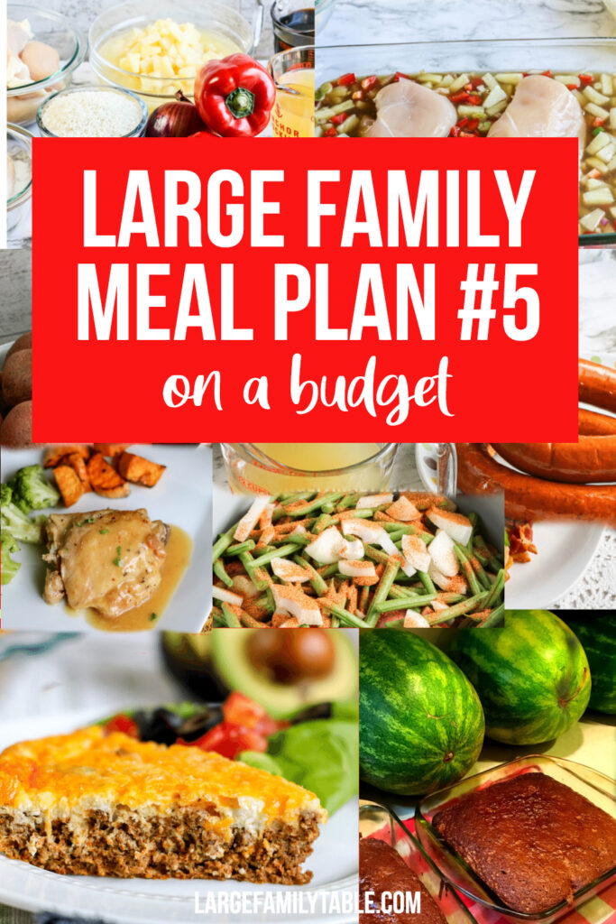 Large Family Weekly Meal Plan on a BUDGET