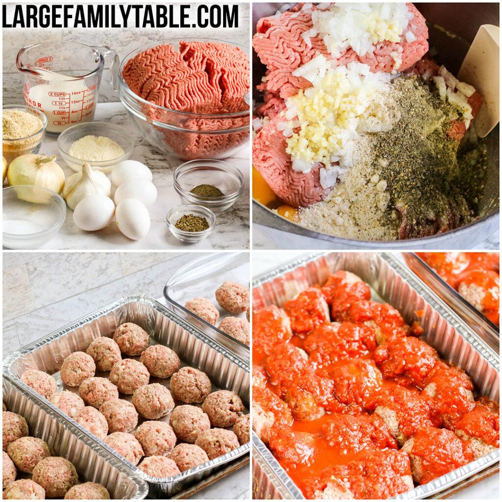 Large Family Meatballs and Marinara Recipe