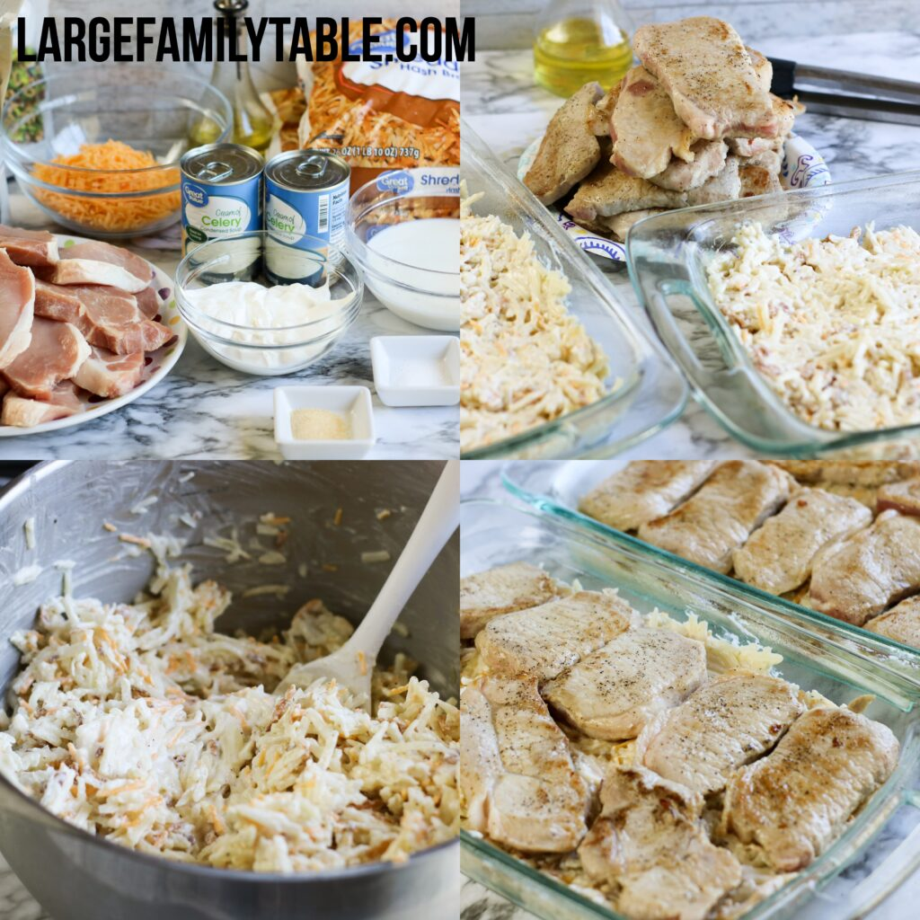 Large Family Pork Chop and Hashbrowns Casserole | Large Family Oven Recipes
