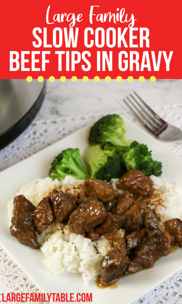 Big Family Slow Cooker Beef Tips in Gravy | Large Family Dinner, Dairy Free