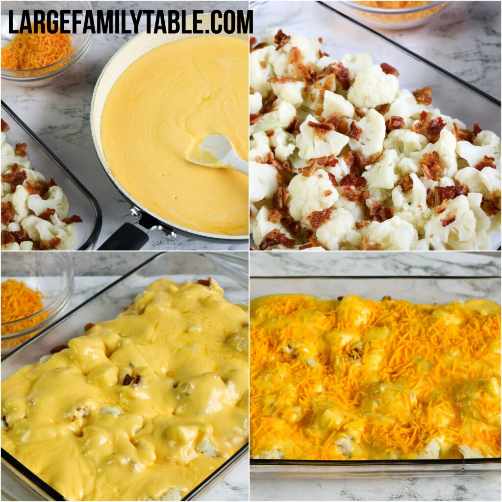 Large Family Low Carb Cauliflower Au Gratin with Bacon