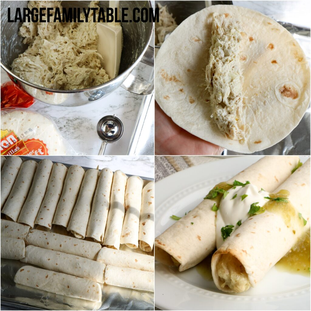 Big Family Freezer Meals Creamy Chicken Taquitos | Make-ahead Large Family Lunch