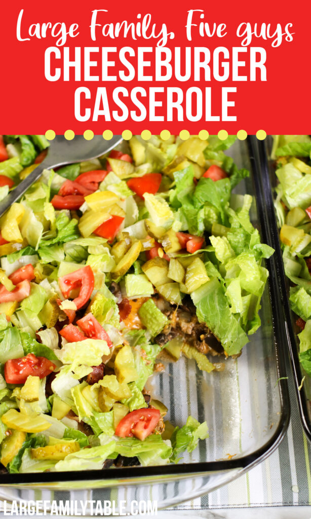 Low Carb Five Guys Cheeseburger Casserole | Freezer Meal Ideas for Large Families