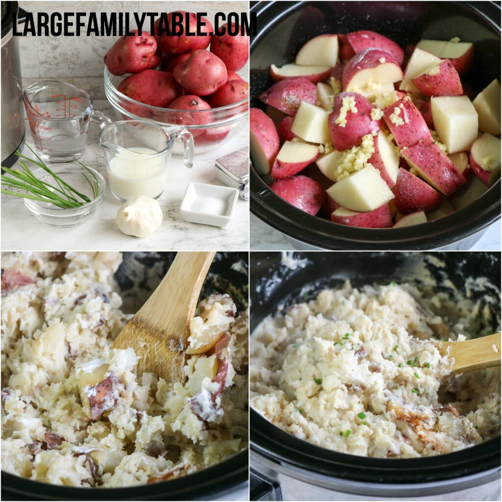 Large Family Slow Cooker Garlic Smashed Red Potatoes | Big Family Side Dishes