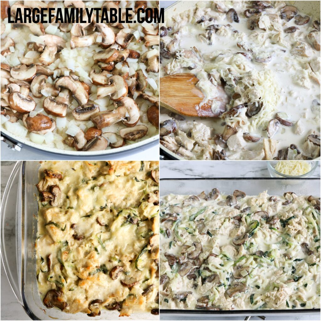 Large Family Low Carb Turkey Tetrazzini | Large Family Holiday Leftover Meal Ideas | Freezer Friendly