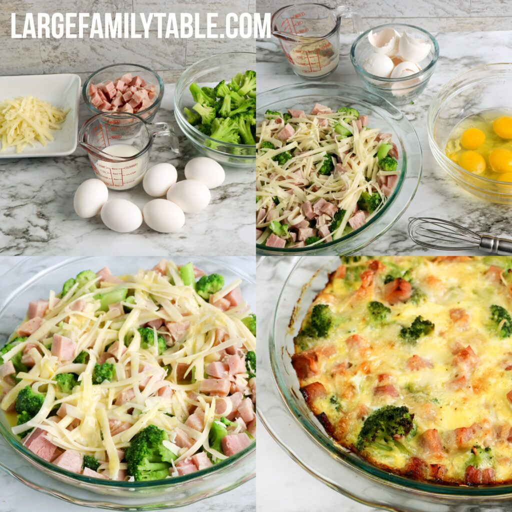 LOW CARB Large Family Ham and Gruyere Crustless Quiche