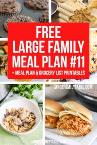 Large Family Meal Plan Week 11