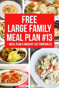 Week 13 Large Family Meal Plan