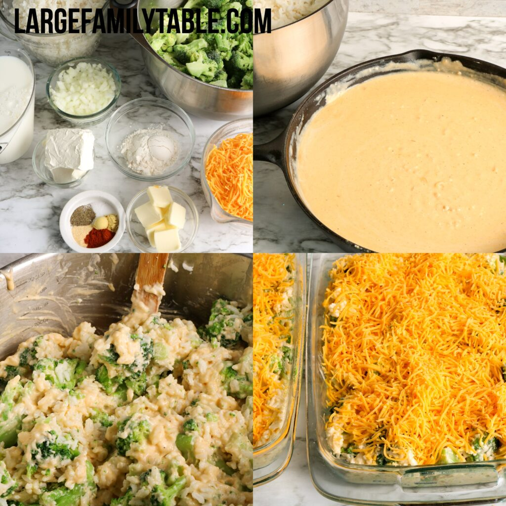 Freezer-Friendly Make-Ahead Broccoli Cheese Rice Casserole | Large Family Make-Ahead Meals