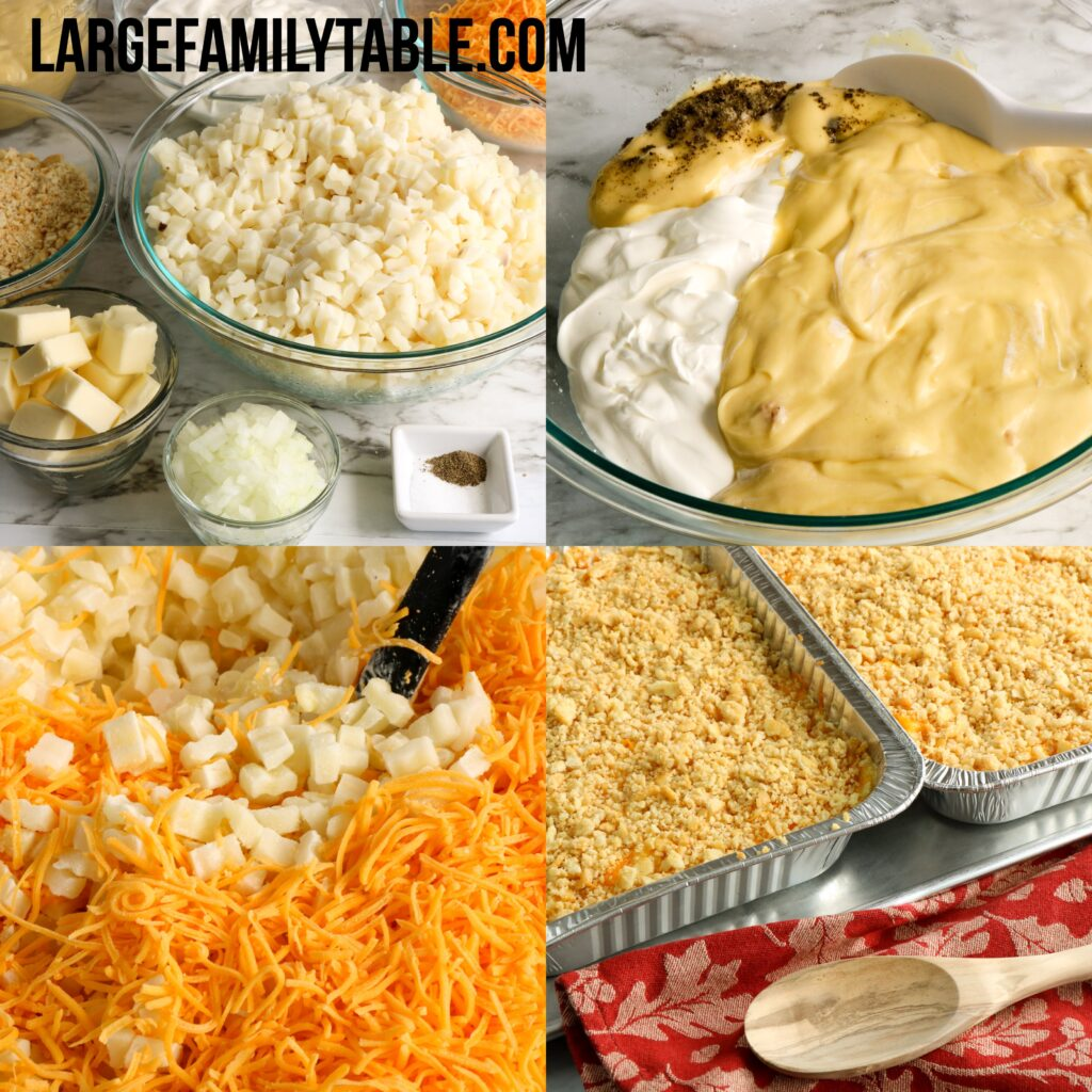 Big Family Make-Ahead Cheesy Potatoes Freezer Meals | Make Ahead Sides for Large Families