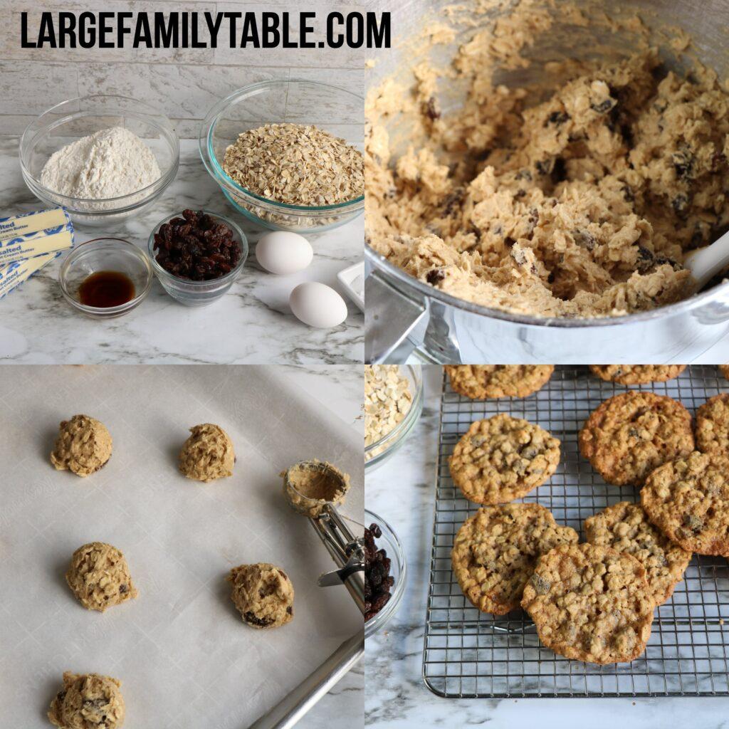 Large Family Make-Ahead Freezable Oatmeal Raisin Cookies   Large Family Baking