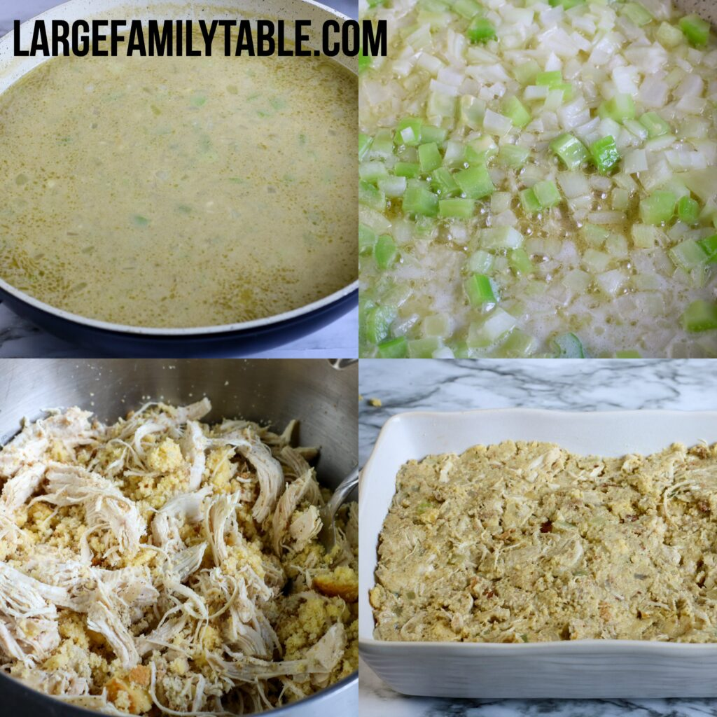 Large Family Southern Chicken and Dressing Casserole | Make-Ahead Large Family Meals