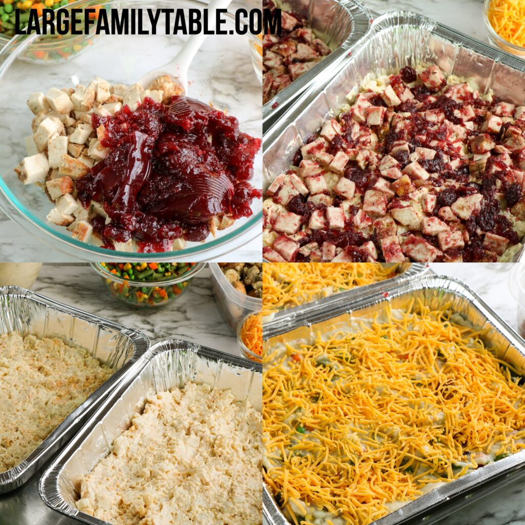 Large Family Turkey and Gravy Leftovers Casserole Bake Freezer Meals