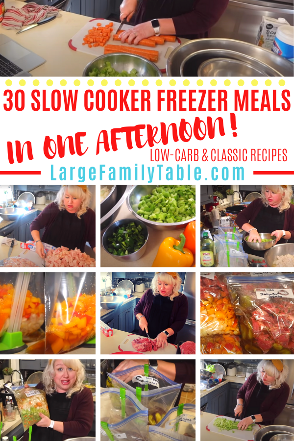 30 LARGE FAMILY SLOW COOKER EASY FREEZER MEALS IN ONE AFTERNOON!